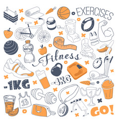 hand drawn sports doodle freehand fitness vector image