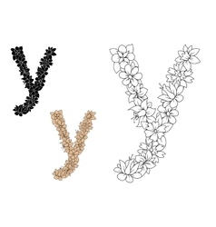 Letter Y with floral motif elements vector image vector image