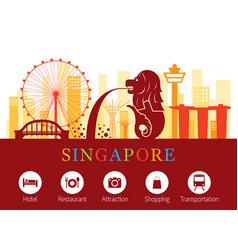 singapore landmarks skyline with accommodation vector image vector image