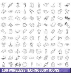 100 wireless technology icons set outline style vector image vector image