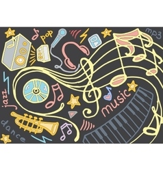 Doodle set of music vector image vector image