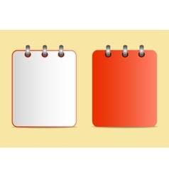 Icons of the red notebook on the rings in two vector image vector image