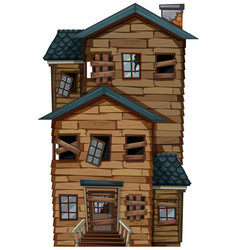 old wooden house with chimney vector image