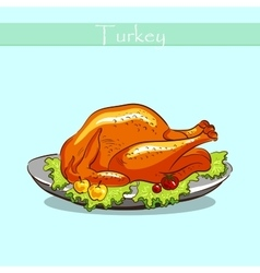 Turkey On A Plate vector image