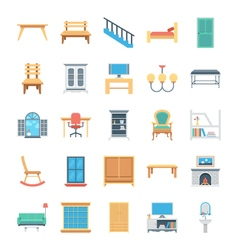 Furniture Colored Icons 7 vector image