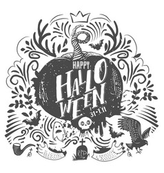 halloween lettering and doodles vector image vector image