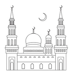 the mosque with domes and minarets with a crescent vector image vector image