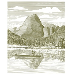 Woodcut Man and Canoe vector image vector image