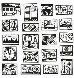 Camping doodles vector image