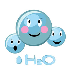cartoon of water molecule and water vector image vector image
