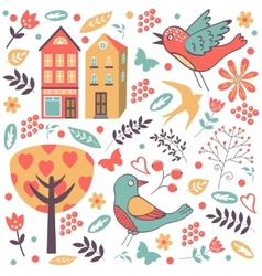 Colorful composition with birds flowers and vector image vector image