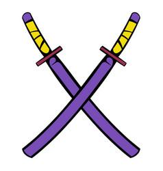 japanese kendo sword icon icon cartoon vector image