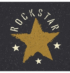 Rockstar Grunge star with lettering Tee print vector image vector image