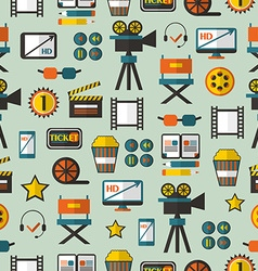 Seamless pattern with cinema equipment vector image vector image
