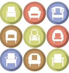 Sofas Icons Set Flat Design vector image vector image