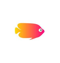 yellow red fish icon aquarium vector image vector image