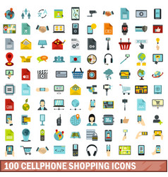 100 cellphone shopping icons set flat style vector image