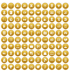 100 insurance icons set gold vector image vector image