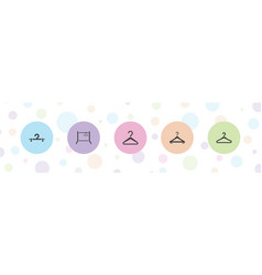 5 cloakroom icons vector
