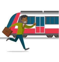 A man catching a missing train at the train vector