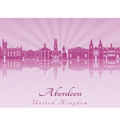 Aberdeen skyline in purple radiant orchid vector image