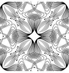 abstract floral seamless pattern with black line vector image