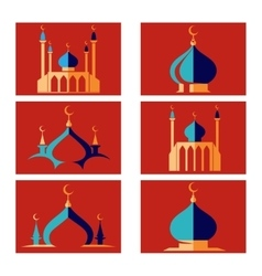 Arabic islamic dome of mosque icons vector