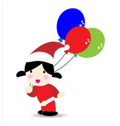 Baby wearind santa suit holding balloons vector image