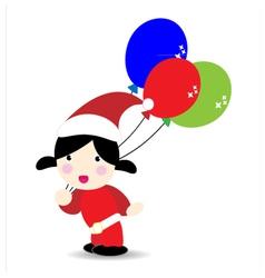 Baby wearind santa suit holding balloons vector