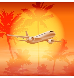 Background with palm trees and airplane in the sky vector
