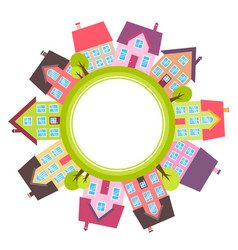 Banner with small town with colorful houses vector