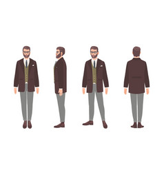 bearded man dressed in elegant formal office vector image