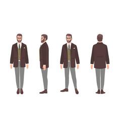 Bearded man dressed in elegant formal office vector