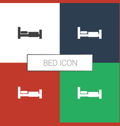 Bed icon white background vector