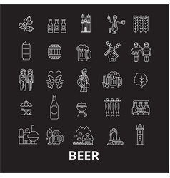 beer editable line icons set on black vector image