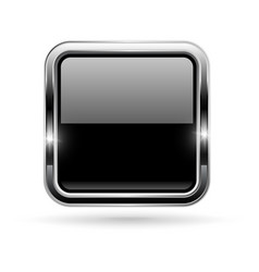 Black button with chrome frame square glass shiny vector