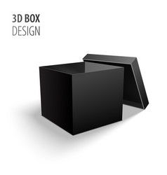 black open carton delivery packaging 3d black box vector image
