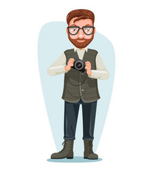 Blogger nature photographer man cartoon character vector