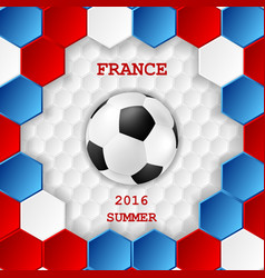 Bright soccer background with ball French colors vector image