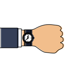 business hand with wrist watch timer vector image