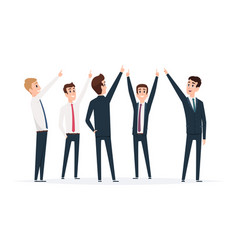 businessman group pointing male managers standing vector image