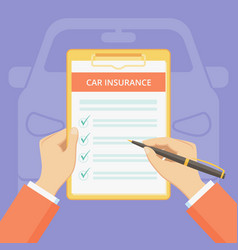 Car insurance policy on clipboard with hand banner vector