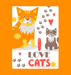 card for cat lover typography poster with cute vector image
