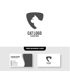 Cat shield logo design and business card template vector