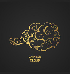 Chinese gold clouds and wind blows isolated vector