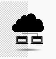 Cloud network server internet data glyph icon on vector