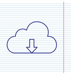 cloud technology sign navy line icon on vector image