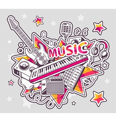 Colored set of musical instruments on a g vector