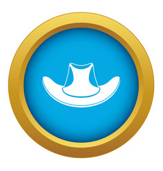 cowboy hat icon blue isolated vector image