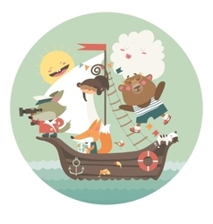 Cute animals travelling by ship on sea vector image